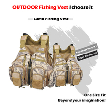Fly Fishing Vest Bag Pack Adjustable Size Fishing Vest Camo Fly Fishing Vest Multi Pocket Sports Outdoor High Quality Pack Bag