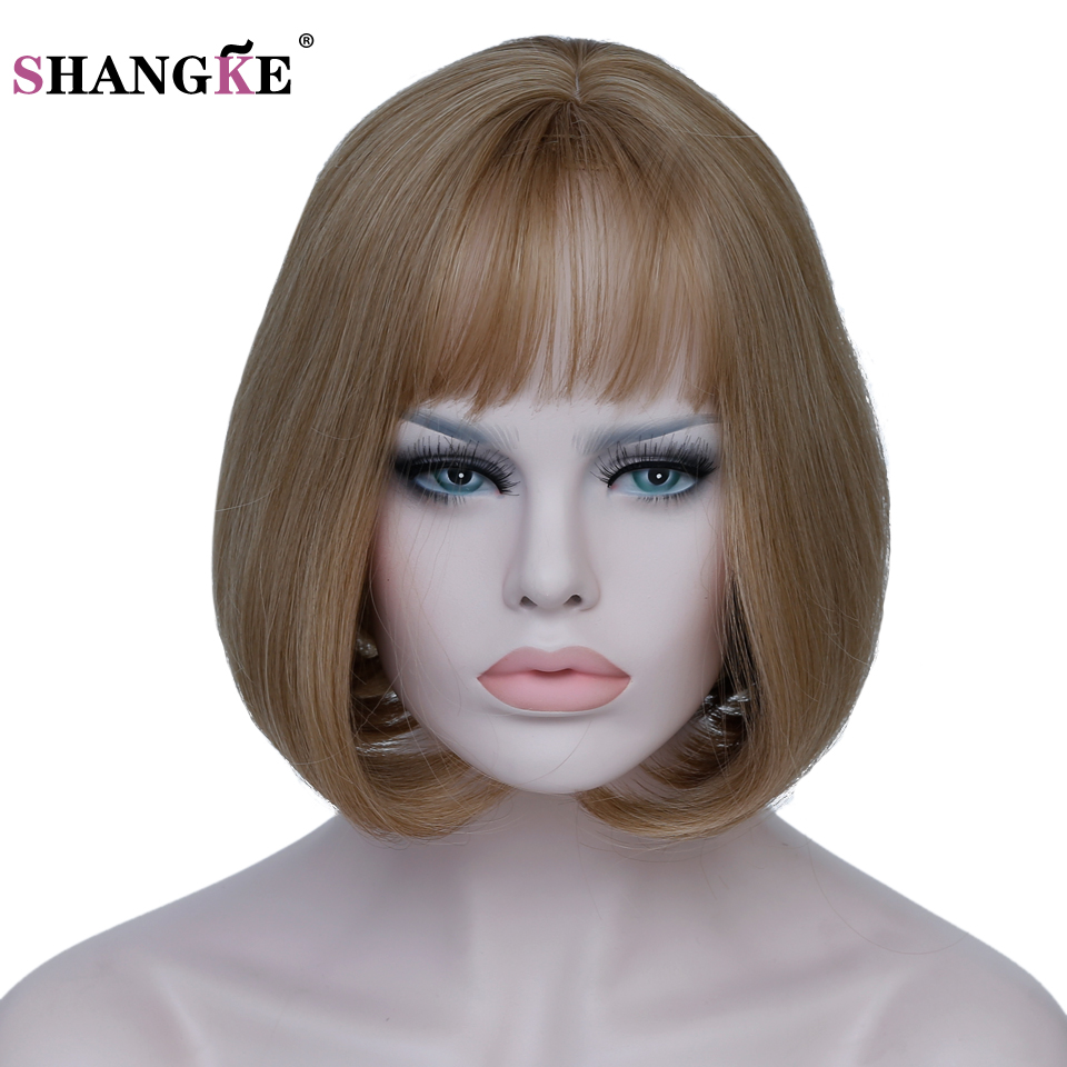 SHANGKE Hair 12'' Short Bob Wig White Ombre Synthetic Wigs For Black Women Heat Resistant Females Hair 7 Colours Can Select