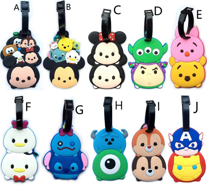 5 pcs Tsum Tsum lot Minnie Mickey Stitch America Iron Man Daisy Donald figures luggage tag PVC bag pendants free shipping
