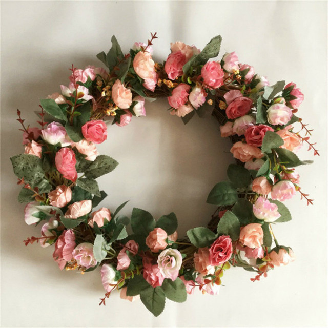 Us 30 54 35 Off Christmas Garland 41cm Door Wall Decor Rose Artificial Flower Wreath Home Office Living Room Hotel Party Christmas Decoration In