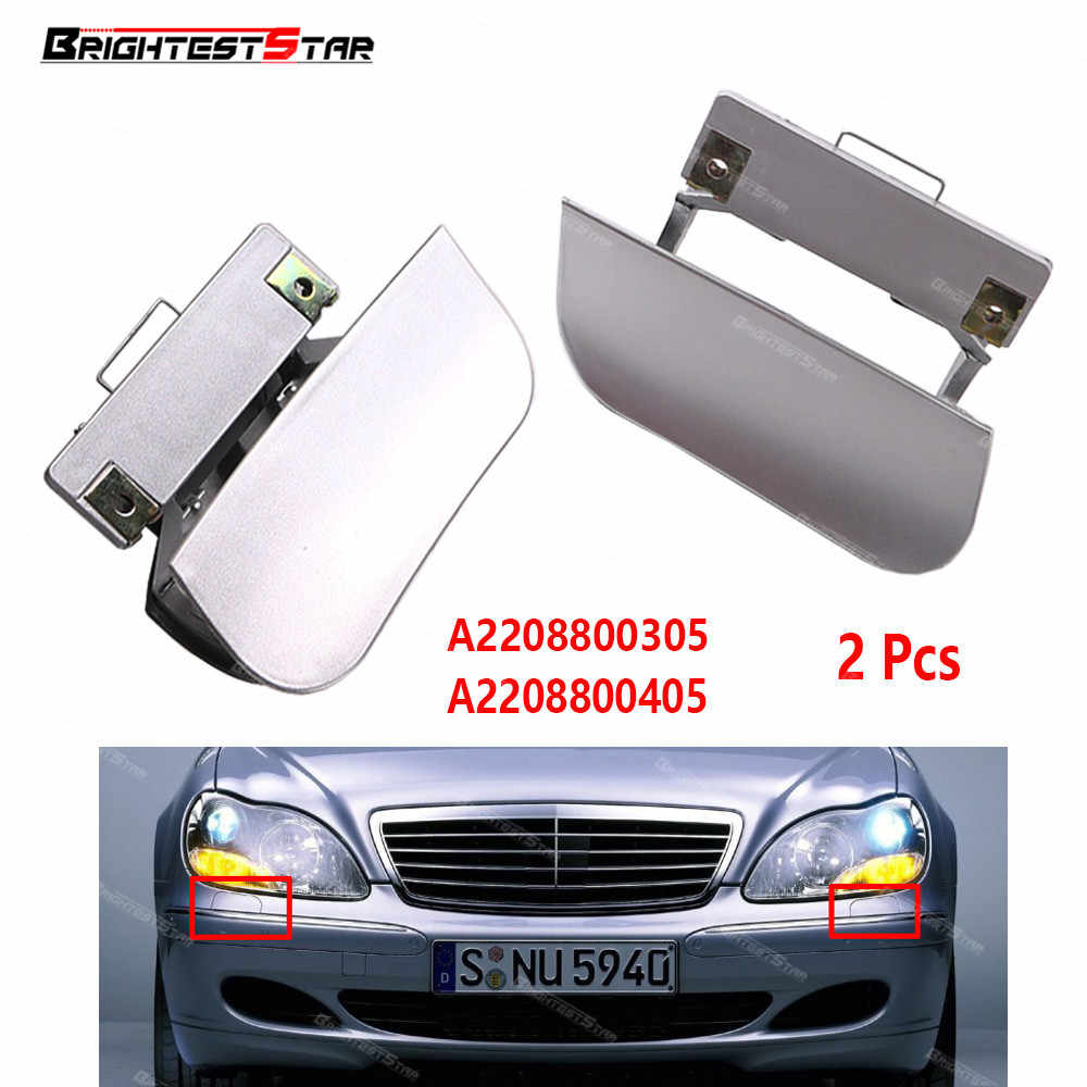 hight resolution of pair front bumper headlight washer nozzles cover cap random color for mercedes benz w220 s430