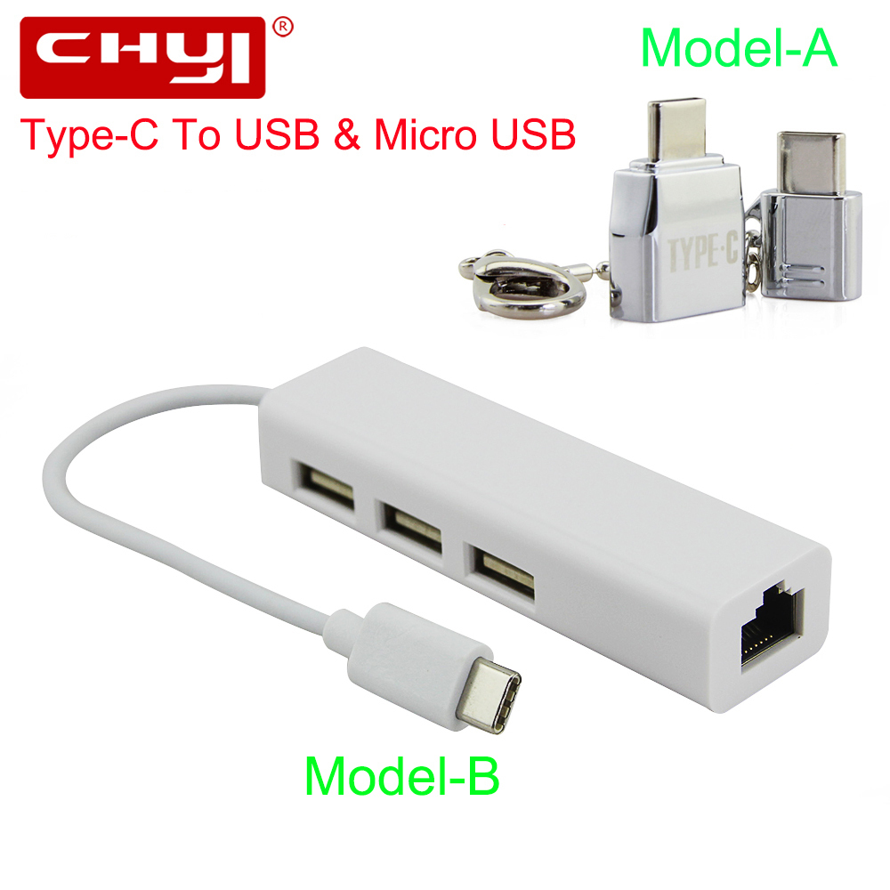CHYI USB Type-C HUB USB-C To 3 Port USB2.0 + Rj45 Ethernet 10/100Mbps Lan Adapter Micro USB C Splitter For PC Laptop Desktop high quality usb 3 1 type c to rj45 ethernet lan adapter cable with 3 ports usb hub for pc notebook macbook support windows