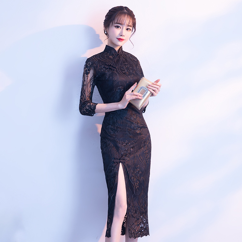 2018 Black Chinese Wedding Dress Female Long Short Sleeve Cheongsam Slim Chinese Traditional Dress Women Qipao For Wedding Party