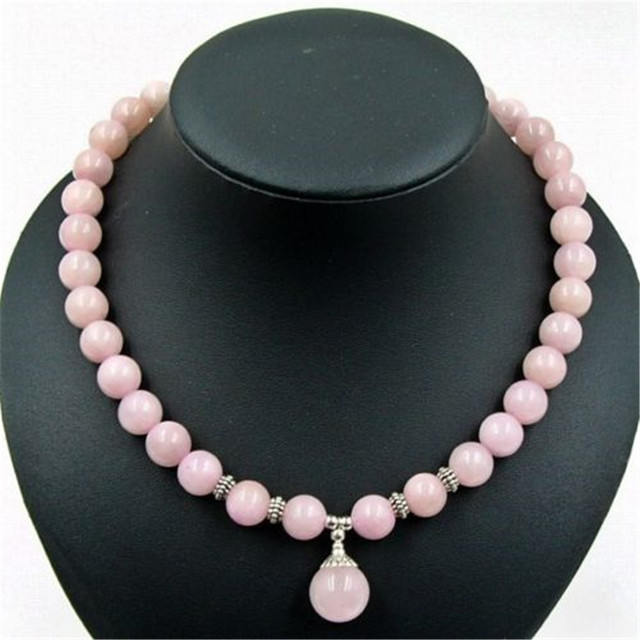 Vintage Classic Natural Stone Jewelry Elegant Noble Rose Quartz  Beaded Chain Choker Necklace with Pendant 47cm for Women