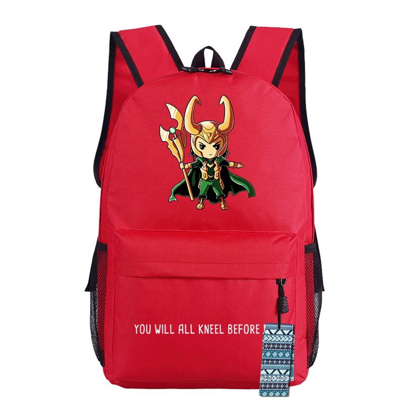 The Avenger Infinity War Manga Comic Hero Loki Teenager Backpack Bag Superheros Students Shoulder School Book Bag Travel Bag