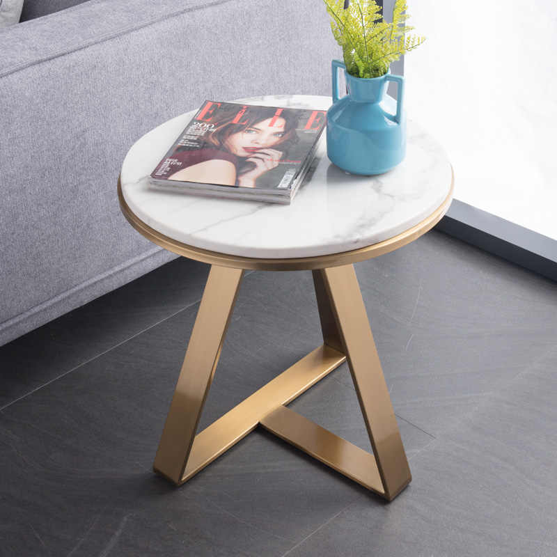Nordic marble side round  table angle post-modern light luxury living room stainless steel gold-plated small coffee table