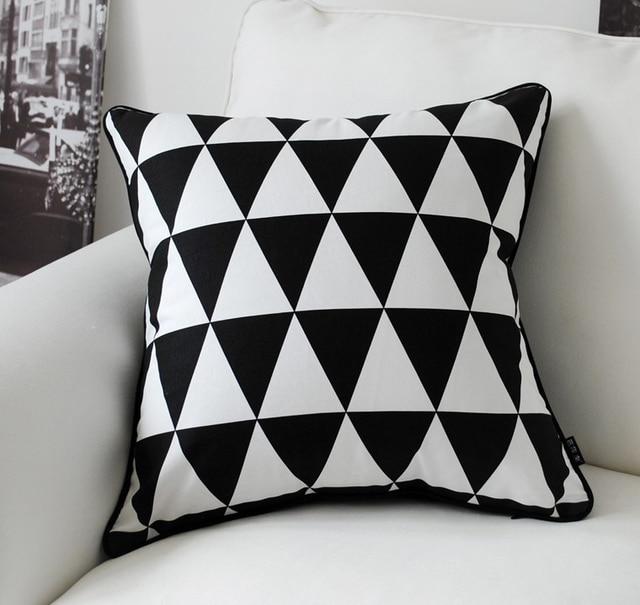 Black White Pillow Cover Geometric Cushion Covers Linen Case Home Decorative Sofa
