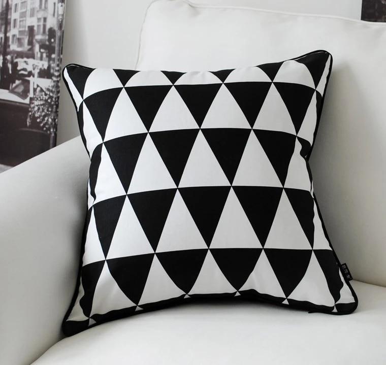 black white pillow cover geometric cushion covers linen pillow case home decorative sofa cushion cover