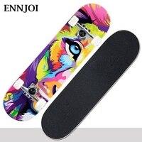 Ennjoi印刷ストリートロングスケートボード完全なレトログラフィティスタイルスケートボードメイプル木材デッキクルーザーロングボードスケートボー