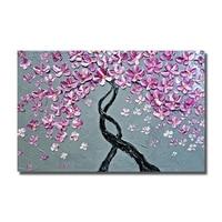 Красивый розовый цветок дерево живопись для Декор в гостиную Современные Холст Книги по искусству ручной росписью Ножи маслом не оформлена