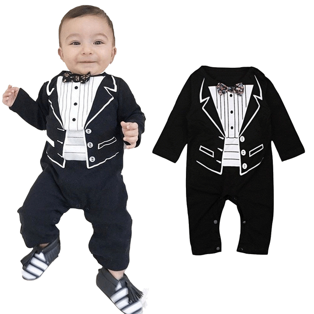 a9c66c42a Baby Gentleman One piece Romper Clothes Baby Kids Boys Formal Suit ...