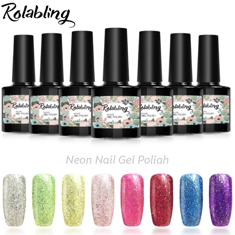 Rolabling 10ML Neon Rainbow Shining Nail Gel Polish Top