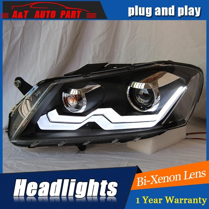AUTO.PRO 2012-2015 For vw passat b7 headlights parking bi xenon lens LED DRL H7 xenon For vw passat HEAD LAMPS car styling