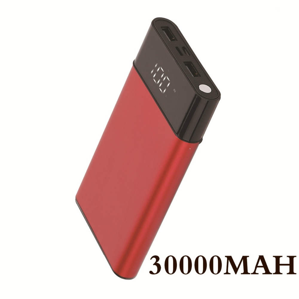 Advertising 30000mah Power Bank Fast Charge Slim Ultrathin Powerbank Dual Usb Led Digital Display Portable Charger For Xiaomi Iphone Huawei