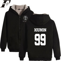 Kpop EXO Zipper Hoodies Sweatshirt Women Zipper Winter Thicken Streetwear Cloth The Elyxixon Concert XIUMIN BAEKHYUN DO CHANYEOL