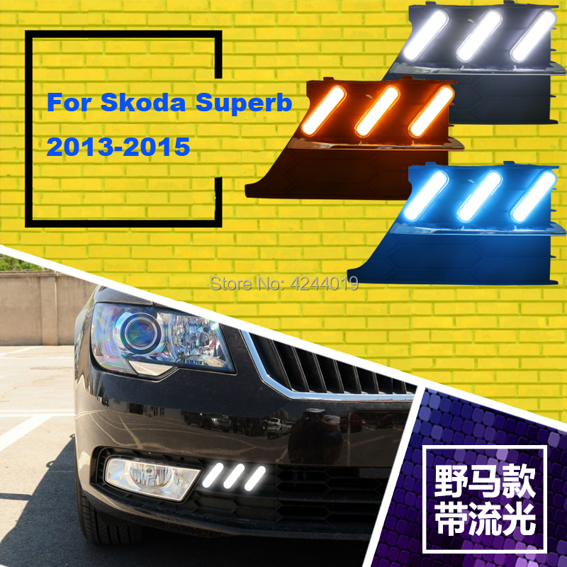 цена на Fits 2013-2015 Skoda Superb Day Light Fog Lights Fog Lamps LED Driving Light DRL Daytime Running Lights Yellow Turn Signal