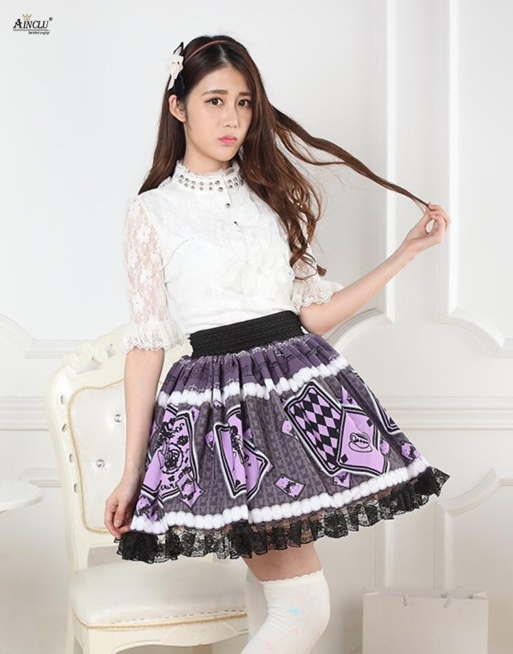 ffe797e2d Estampado púrpura Alice's Poker Lolita encaje vestido faldas mujeres estilo  japonés plisado Chicas ...