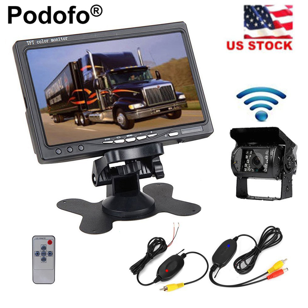 Podofo Wireless Truck Rear View Camera IR Night Vision Backup Kit 7 Monitor for RV Bus Caravan Trailers Campers Motorhome dual backup camera and monitor kit for bus truck rv ir led night vision waterproof rearview camera 7 lcd rear view monitor