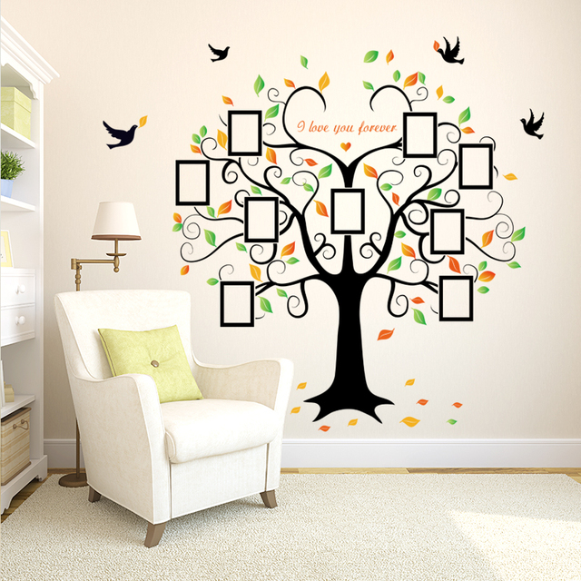 Large 240cm/ 80inch Family Tree Photo Frame Removable Wall Sticker Love Tree Bird Butterfly 2