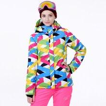 Pas cher Ski Costume ensembles Femmes Snowboard Vêtements Imperméables Coupe-Vent Épaississent Hiver En Plein Air Costume de Neige Costume Veste + bavoirs Pantalon