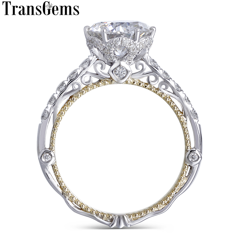 Transgems 14 к белого и желтого золота центр 2ct 8 мм F цвет Муассанит Алмаз Винтаж обручение кольцо для женщин Свадебные
