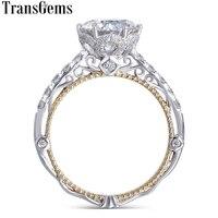 Transgems 14 K белое и желтое золото центр F цвет Moissanite алмаз винтажное Помолвочное кольцо для женщин Свадебная свадьба