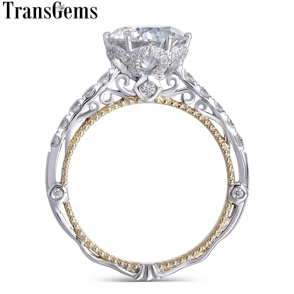 Transgems 14 K Blanc et Jaune Or Center 2ct 8mm F Couleur Moissanite Diamant Vintage Bague de Fiançailles pour les Femmes nuptiale De Mariage