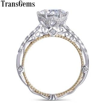77640fb69224 Transgems 14 K blanco y amarillo oro Centro Color F diamante anillo Vintage  anillo de compromiso para las mujeres nupcial de la boda