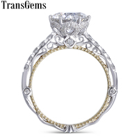 Transgems 14K White and Yellow Gold Center 2ct 8mm F Color Moissanite Diamond Vintage Engagement Ring for Women Bridal Wedding
