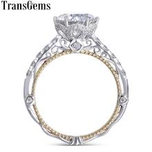 Transgems 14K White and Yellow Gold Center F Color Moissanite Diamond Vintage Engagement Ring for Women Bridal Wedding