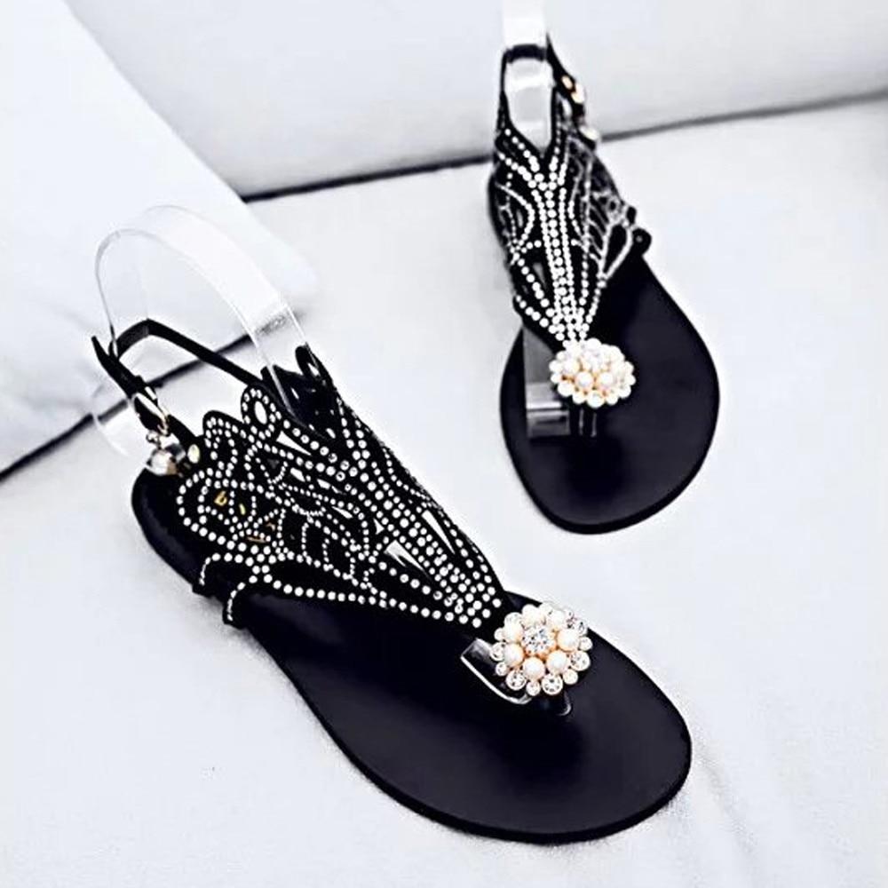 2018 Women Fashion Vitage Women Rhinestone Flat Heel Anti Skidding Beach Shoes Rome Sandals Slipper MAY 02 2018 new bohemian women sandals crystal flat heel slipper rhinestone chain women casual beach shoes size 34 44