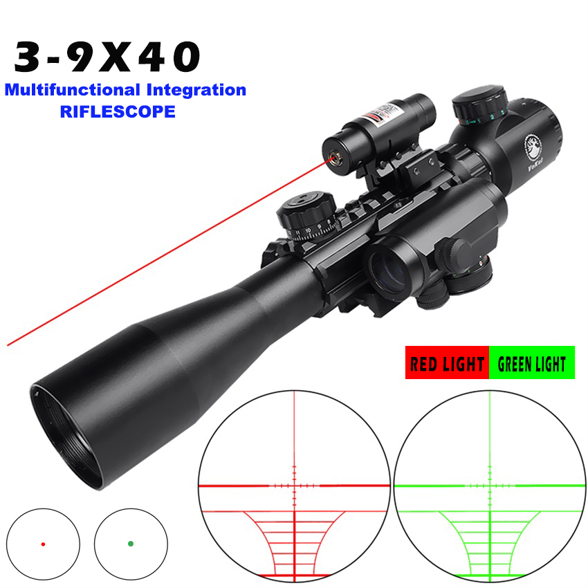 High Definition Anti-Seismic Sight Red Dot Sight Night Vision Red Laser Rifle Scop 3-9x40 Riflescope Hunting Optics 11MM/20MM