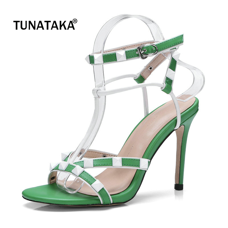 все цены на Summer Thin High Heel Open Toe Woman Sandals Fashion River Buckle Dress High Heel Shoes Woman Black Red Green