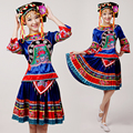 Chinese Folk Dance High Grade Minority Costumes Female Tujia And Miao Dance Costume Ethnic Stage Performance Clothing
