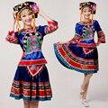 Danza Popular china de Alto Grado Minoría Étnica Tujia Y Miao Femenina Trajes Traje de la Danza Ropa puesta en Escena
