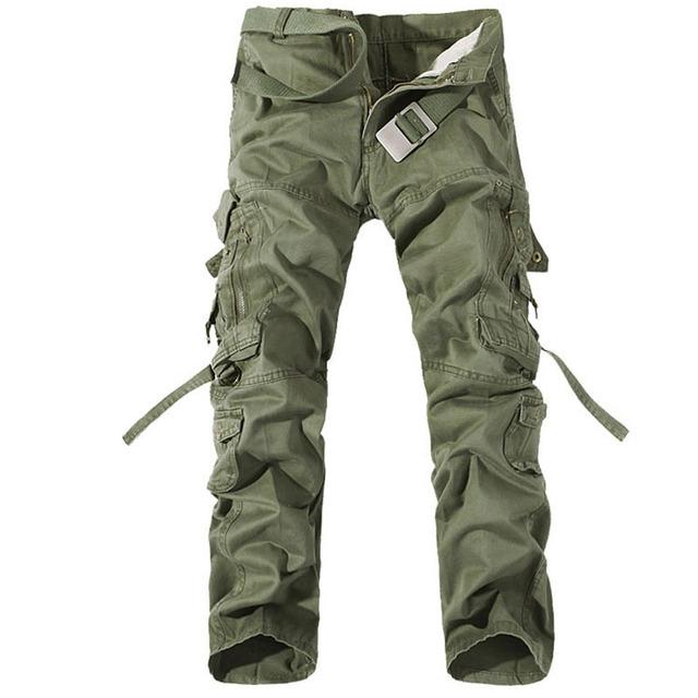 Hombres Militares Pantalones de Carga Multi Bolsillos decoración Pantalón Largo Ocasional de Gran Tamaño 28-40 Pantalones