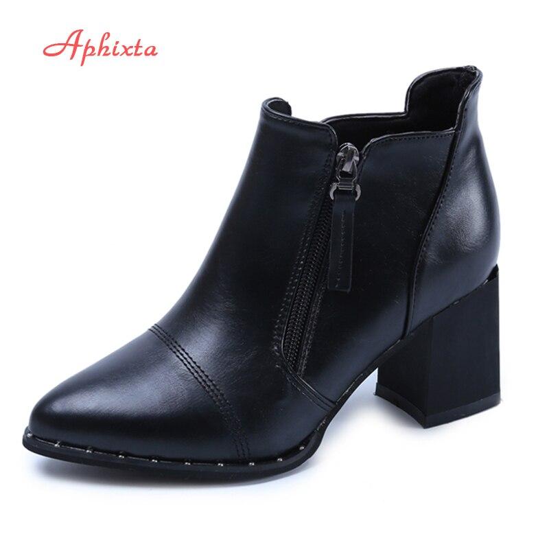 Aphixta Chaussures Femme Mode Argent En Cuir Verni Imperméable Cheville Bottes Femme Zip 7 cm Talons Carrés Plate-Forme Confortable Automne