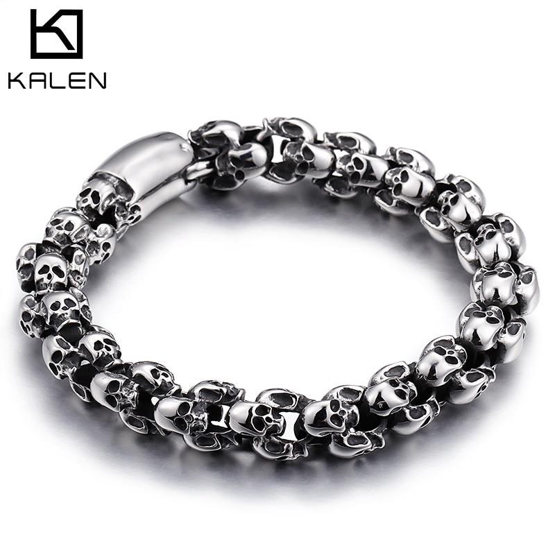 KALEN Punk Skull Bracelets Men Stainless Steel Shiny Matte Skull Charm Link Chain Brecelets Male Gothic Jewelry 2020