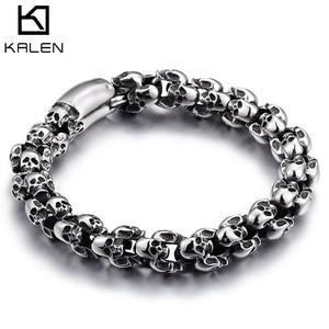 Image 1 - KALEN Punk Skull Bracelets Men Stainless Steel Shiny Matte Skull Charm Link Chain Brecelets Male Gothic Jewelry 2020