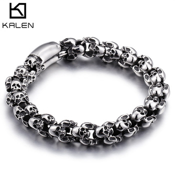KALEN Punk Skull Bracelets Men Stainless Steel Shiny Matte Charm Link Chain Brecelets Male Gothic Jewelry 2020