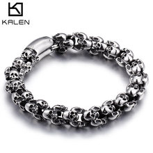 Kalen Punk 22.5cm Long Skull Bracelets For Men Stainless Steel Shiny Skull Charm Link Chain Brecelets Male Gothic Jewelry 2019(China)