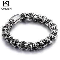Kalen Punk 22.5cm Long crâne Bracelets pour hommes en acier inoxydable brillant crâne charme lien chaîne Brecelets mâle gothique bijoux 2019