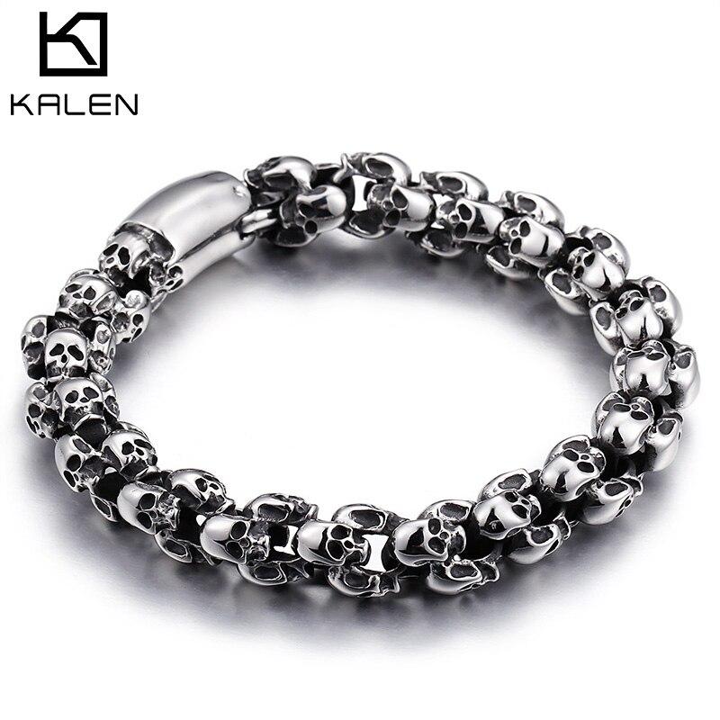 Kalen Punk 22,5 cm de largo cráneo pulseras para hombres de acero inoxidable brillante cráneo encanto enlace cadena Brecelets hombre joyería gótica 2018