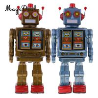 2 Pcs Retro Batteries Operated Walking Electron Robot Mechanical Model Tin Toy Collectibles