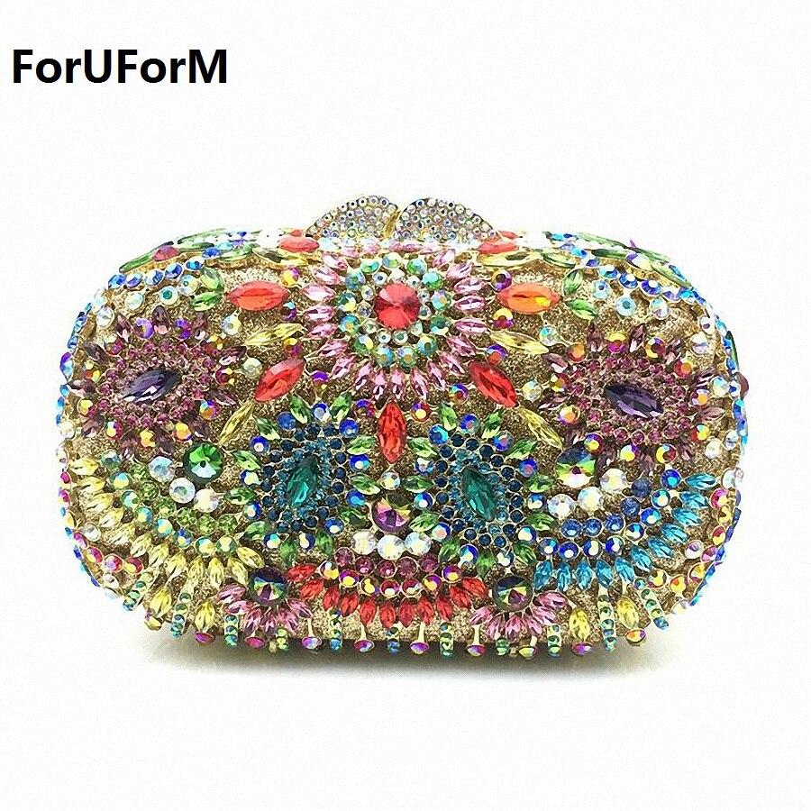 ForUForM Mujeres Del Diamante de Lujo Elegante Bolso de Noche de Cristal Bolso d