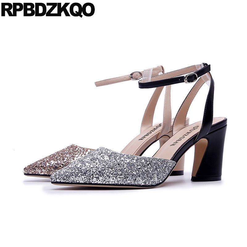68472fa6375 thick ankle strap glitter golden sandals women high heels evening silver pointed  toe 3 inch shoes pumps size 4 34 gold slingback-in Women s Pumps from Shoes  ...