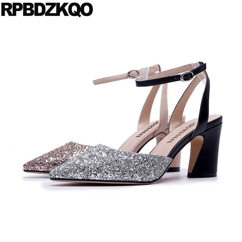 749bf5292e thick ankle strap glitter golden sandals women high heels evening silver  pointed toe 3 inch shoes