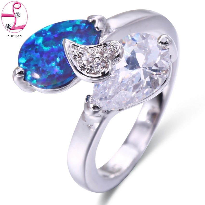 ZHE FAN Water Drop White Brown Blue Pink Fire Opal Engagement Rings AAA CZ Cubic Zircon Ring For Women Party Valentines Jewelry