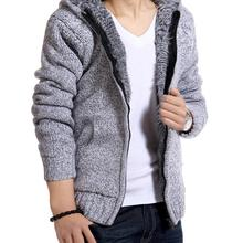 Hot! Men Thick Velvet Hooded Fur Jackets Mens Winter Padded Casual Knitted Sweater Cardigan Coats Outwear Sweatshirts Parkas