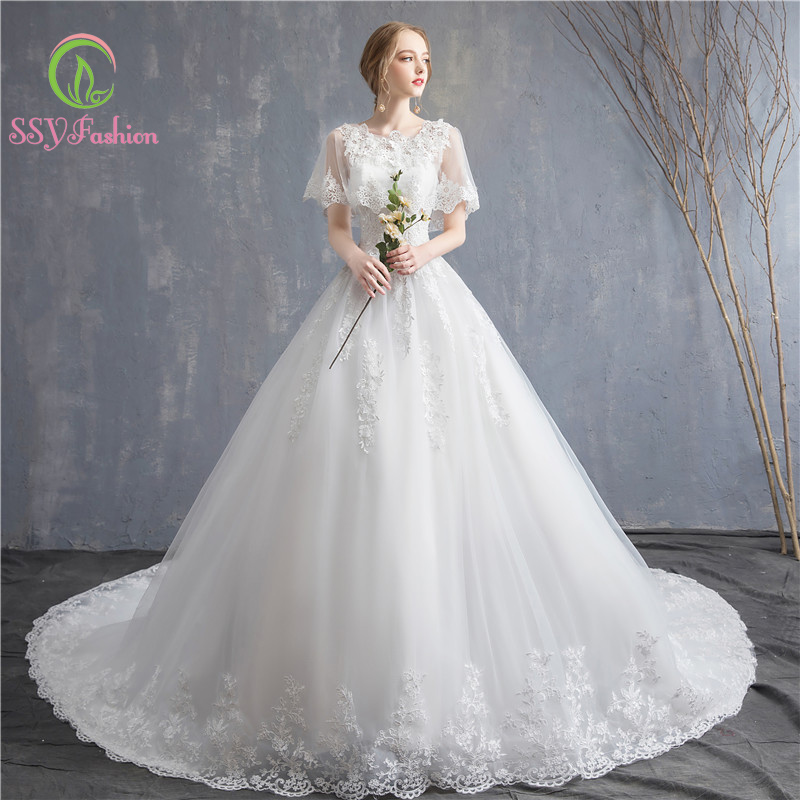 SSYfashion Scoop Neck Shawl Sleeveless Lace Up Back Sweep Train Lace Wedding Dress Custom White Bridal Dresses Vestido De Novia